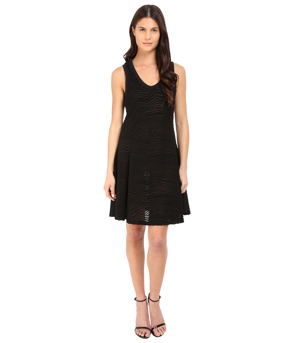 Neil Barrett Fragmented Lines Flared Jersey Dress Black Womens Dress