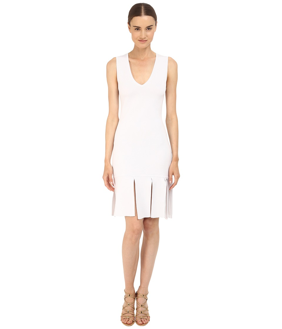 Neil Barrett Degrade Pannels To Fringe Knit Technical Degrade Panels Dress White Womens Dress