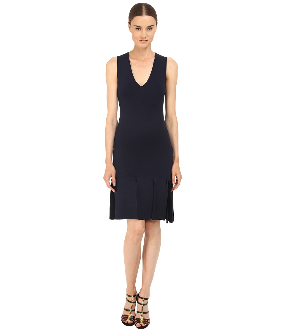 Neil Barrett Degrade Pannels To Fringe Knit Technical Degrade Panels Dress Navy Womens Dress
