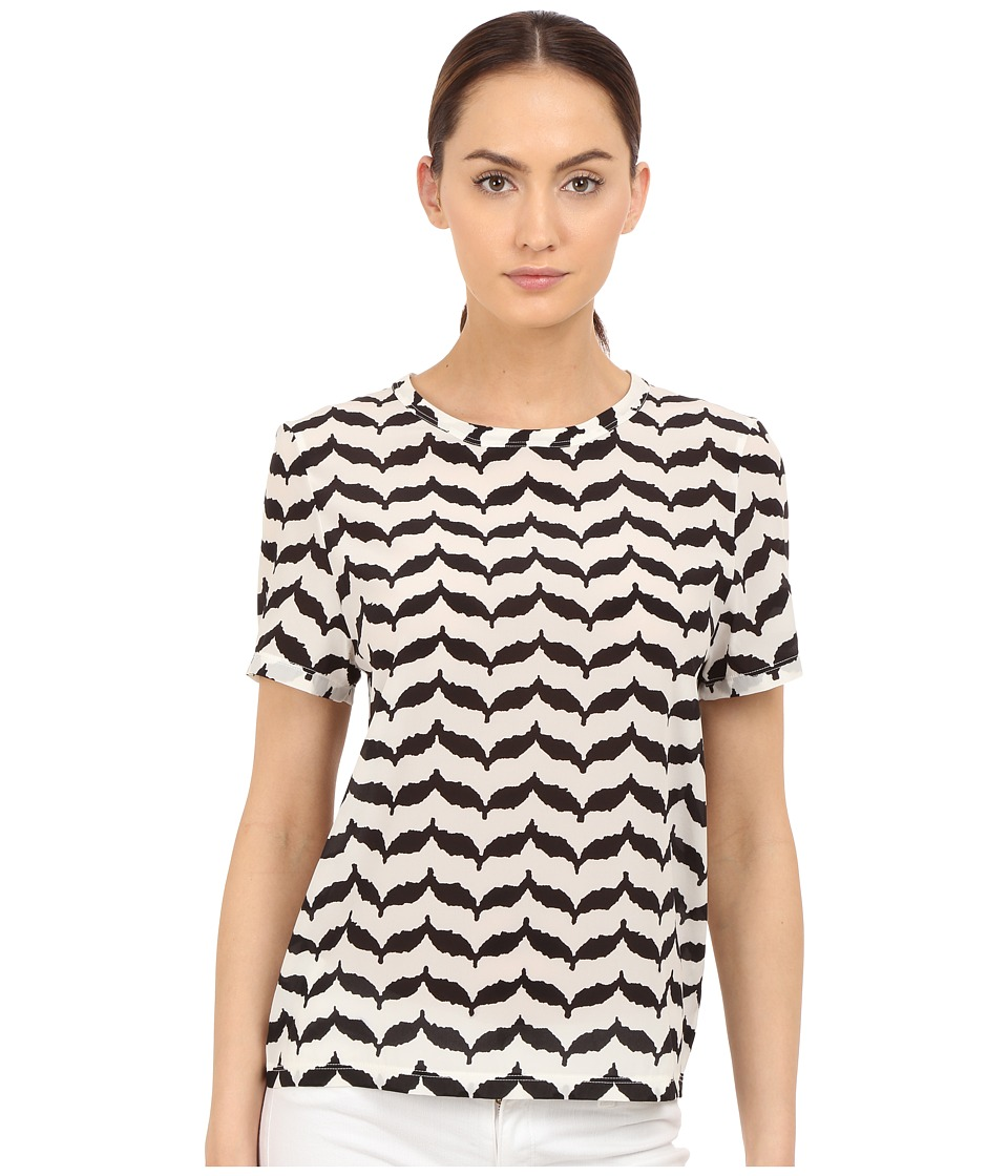 Neil Barrett Macro Kefiah Small Masc. Reg. Silk Stretch T Shirt Off White/Black Womens T Shirt