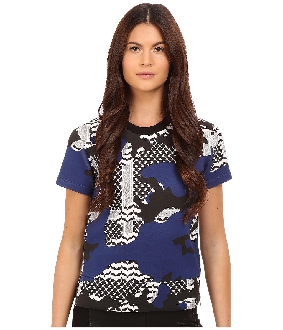 Neil Barrett Short Oversize Kefiah Camo Sweatshirt Black/White/Imperial Blue Womens Sweatshirt