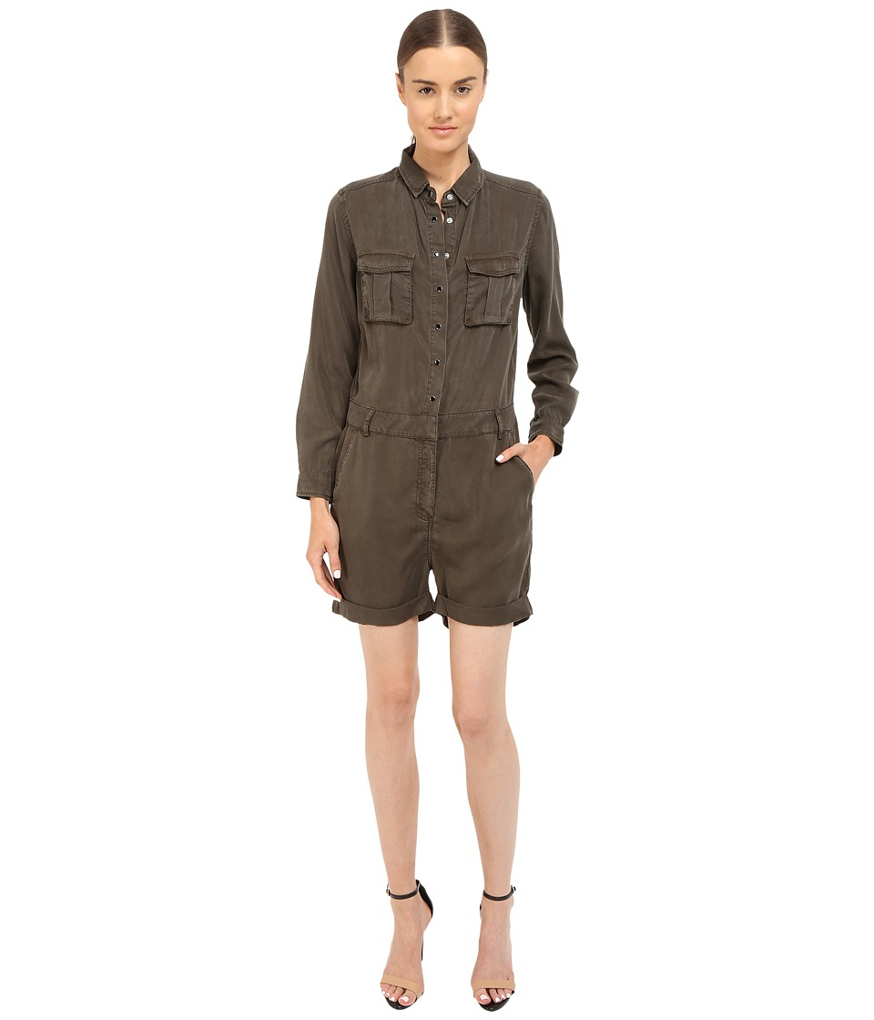 The Kooples Combinaison Short En Tencel Type Militaire Kaki Womens Jumpsuit Rompers One Piece