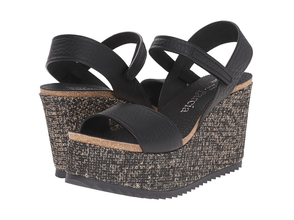 Pedro Garcia Dorothy Black Cervo Womens Wedge Shoes