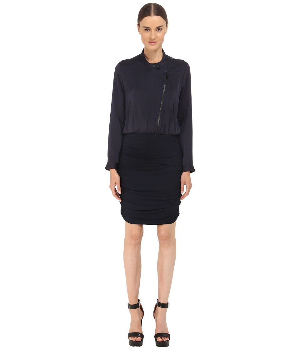 The Kooples Bi Material Dress with Perfecto Collar Navy Womens Dress