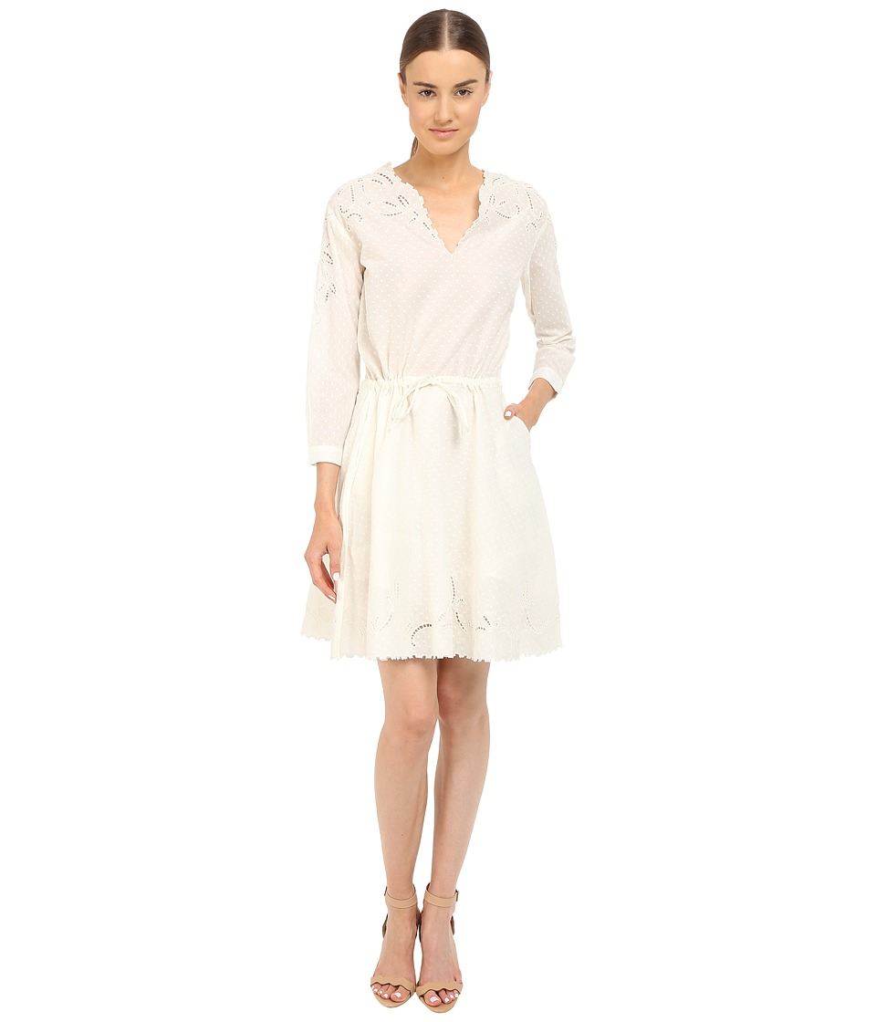 The Kooples Cotton Dobby Dress with Broderie Anglaise White Womens Dress