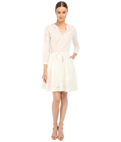 The Kooples Cotton Dobby Dress with Broderie Anglaise - White