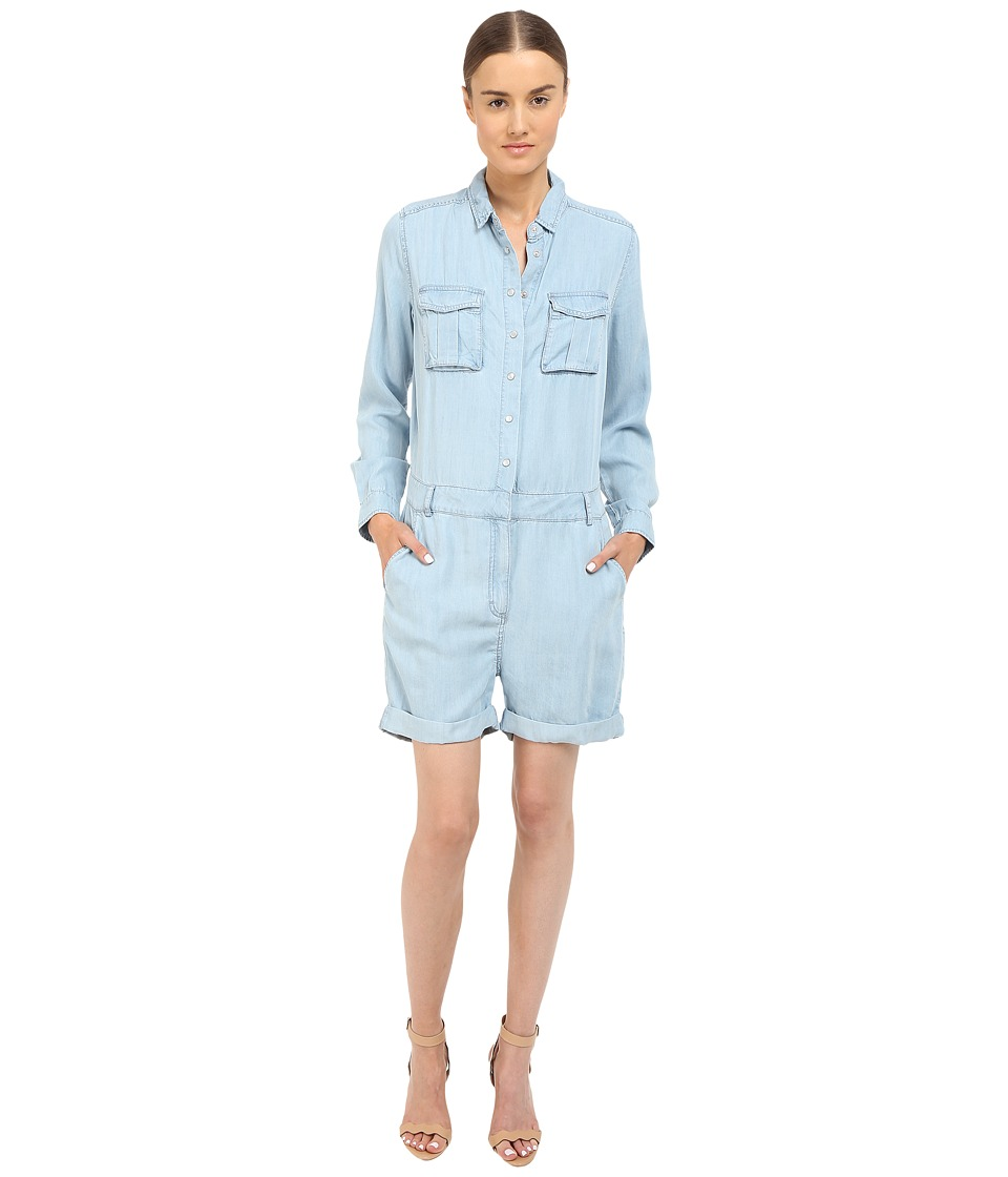 The Kooples Combinaison Short En Tencel Type Militaire Blue Womens Jumpsuit Rompers One Piece