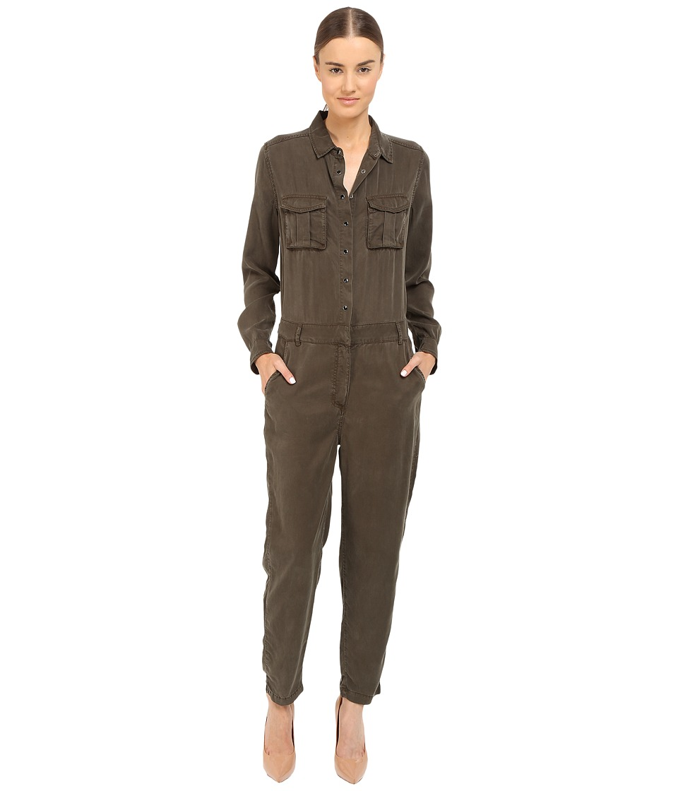 The Kooples Combinaison Longue En Tencel Poches Plaquees Kaki Womens Jumpsuit Rompers One Piece