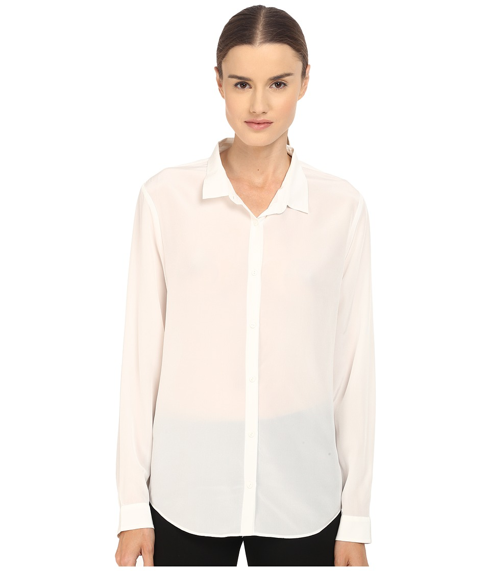 The Kooples Boyfriend Shirt in Plain Silk White Womens Blouse
