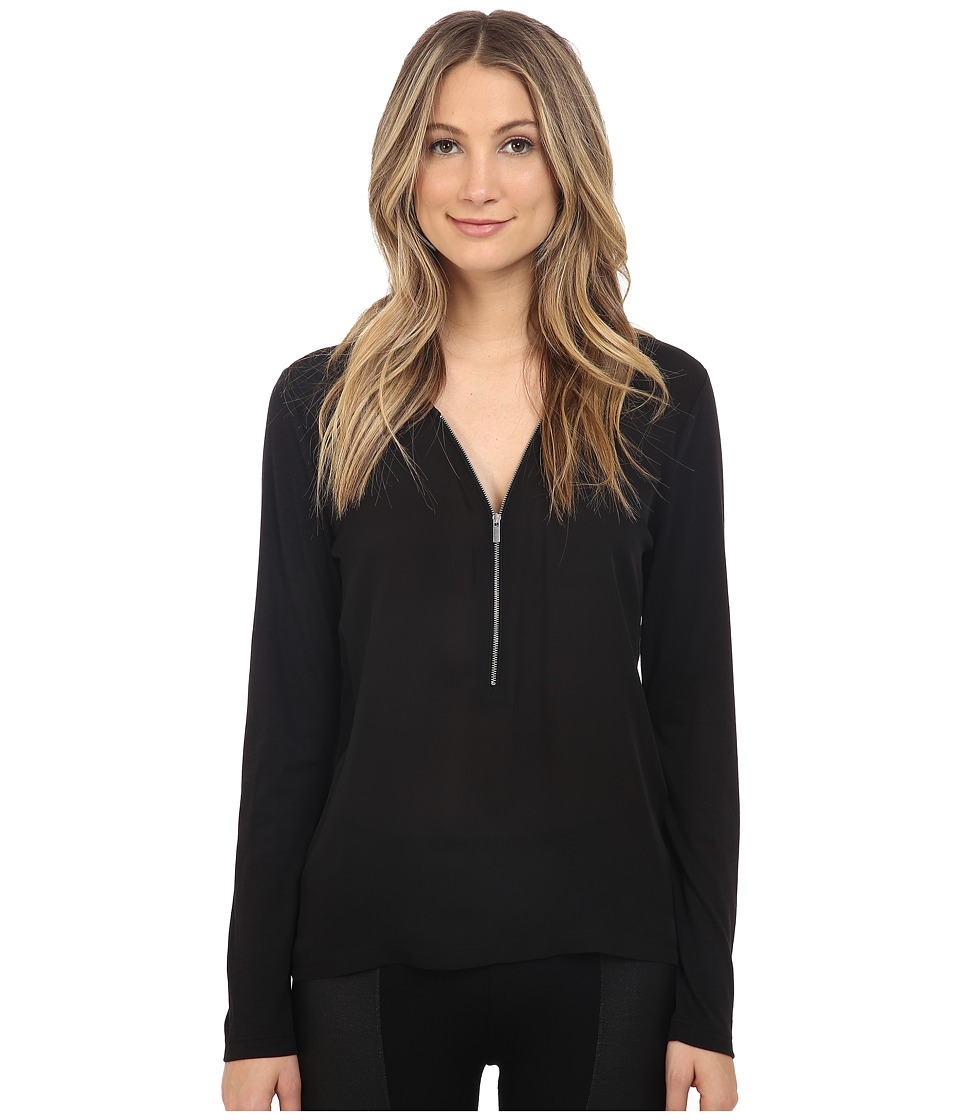 The Kooples - Long Sleeve Signature T-Shirt in Silk and Jersey