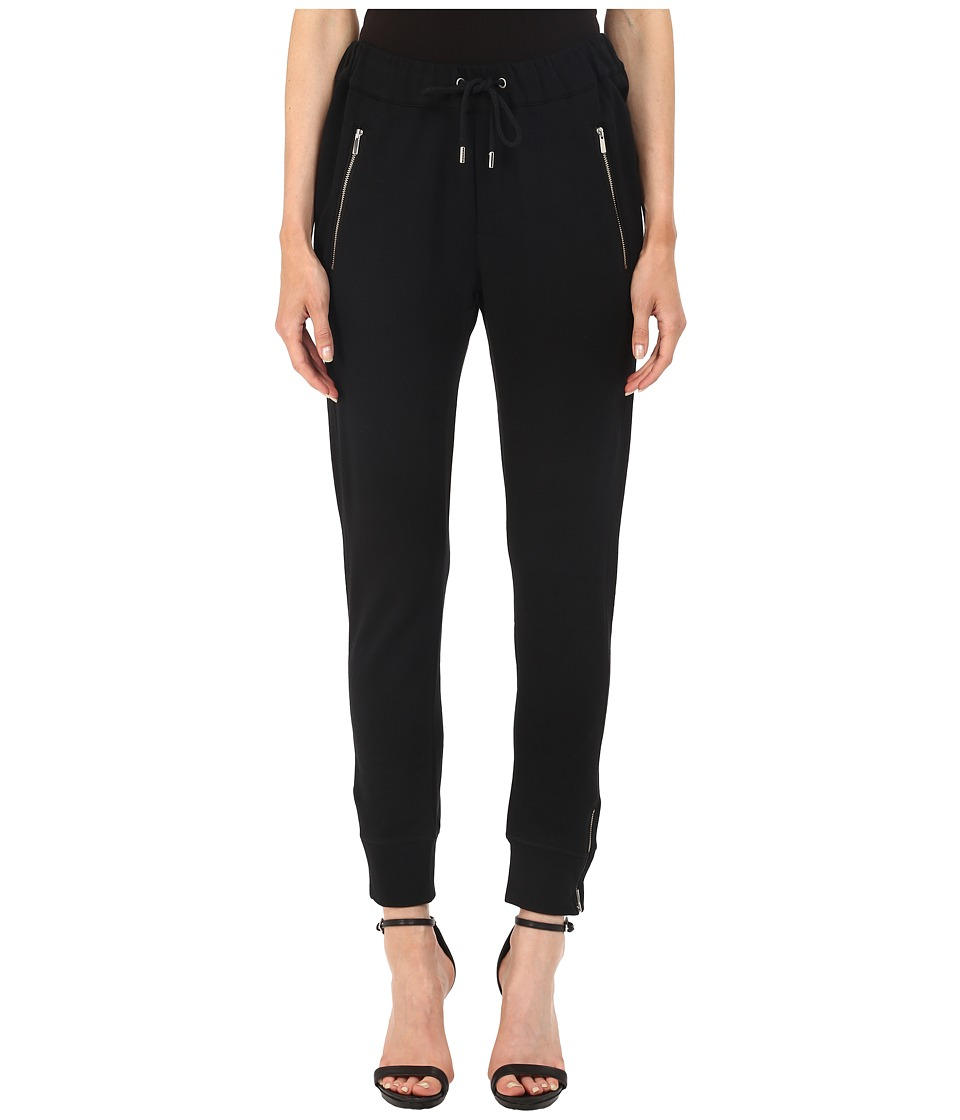 The Kooples Box Jogging Trousers in Stretch Fleece Black Womens Casual Pants