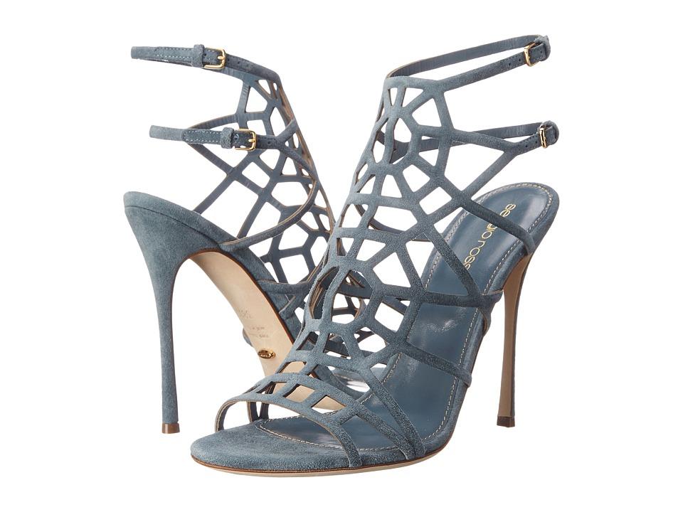 Sergio Rossi Puzzle Basic Silk Denim Suede High Heels