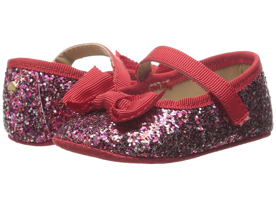 Kate Spade New York Kids Glitter Mary Jane with Bow Infant/Toddler Multi/Fairytale Red Glitter Girls Shoes