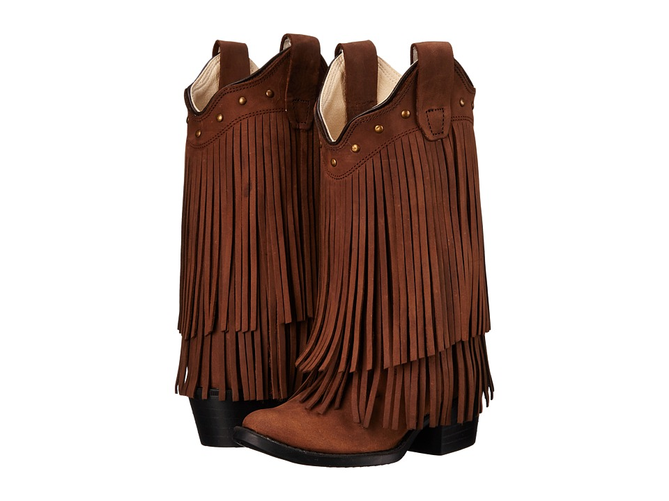 Old West Kids Boots Fringe Boot Toddler/Little Kid Brown Cowboy Boots