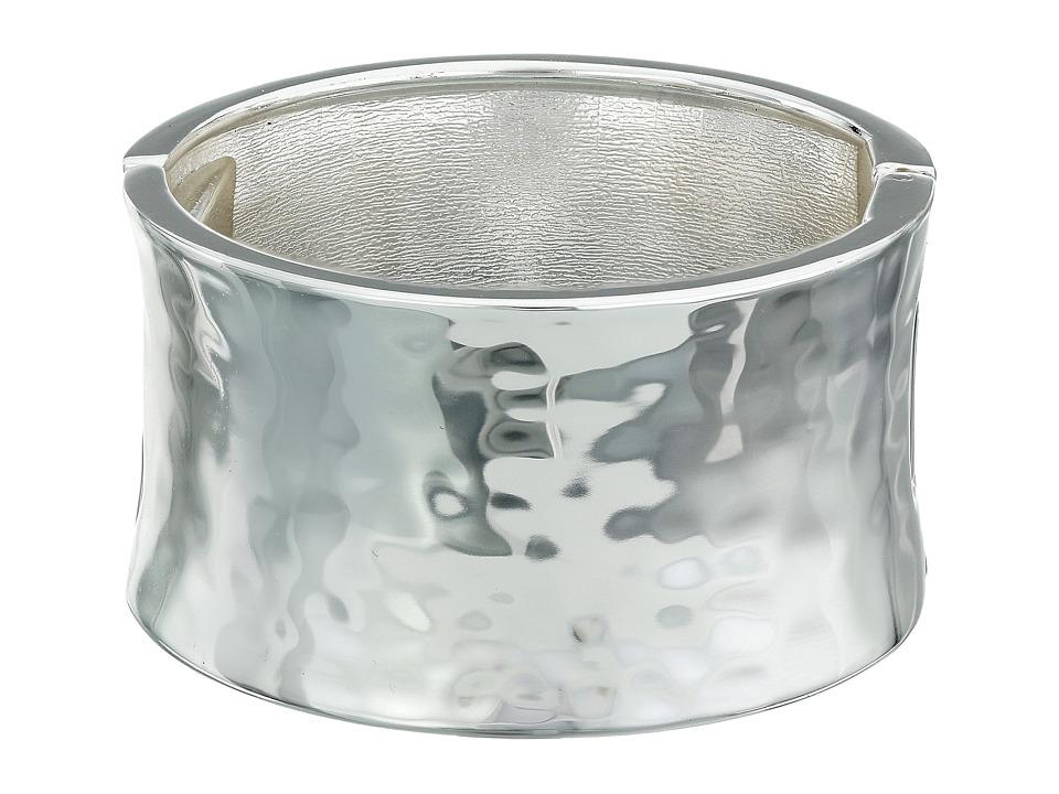 Robert Lee Morris Wide Hammered Hinge Bangle Bracelet Silver Bracelet