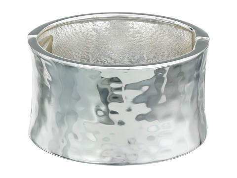 Robert Lee Morris Wide Hammered Hinge Bangle Bracelet - Silver