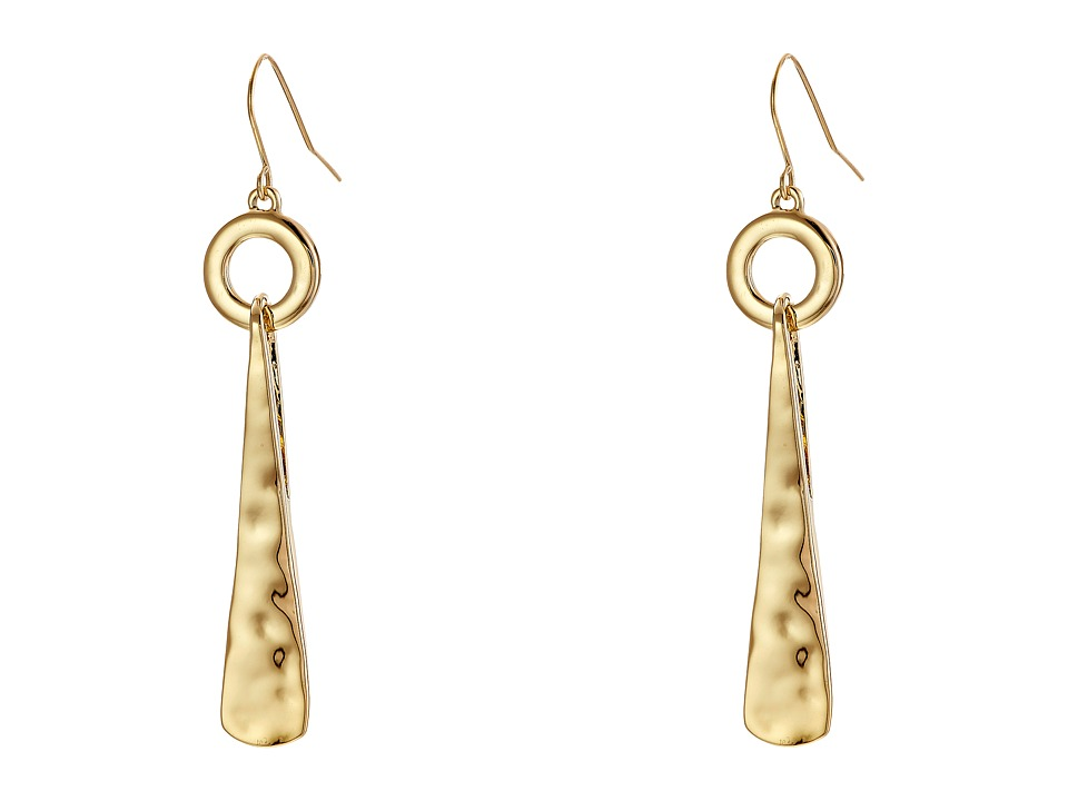 Robert Lee Morris - Hammered Triangle Circle Drop Earrings (Gold) Earring