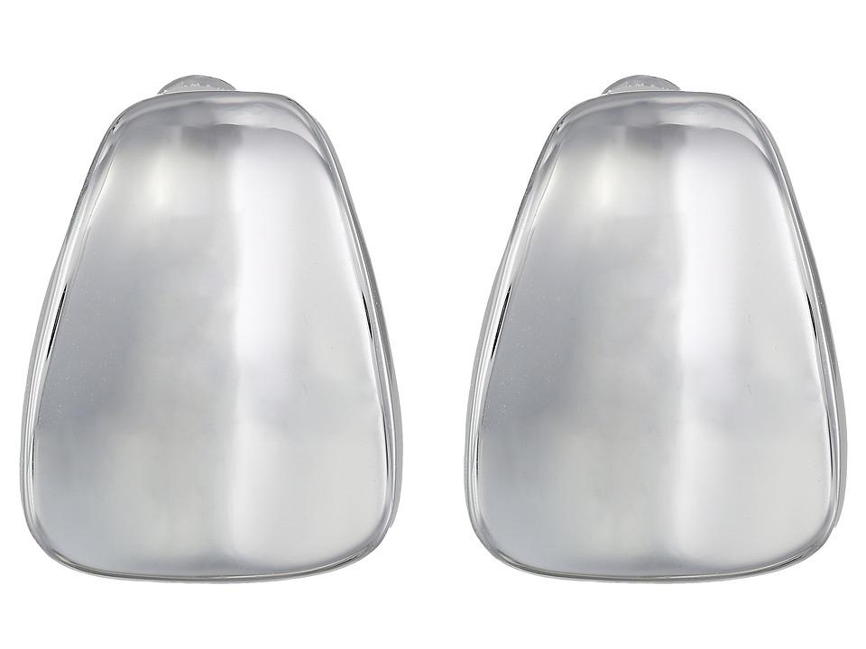 Robert Lee Morris Wide Wedge Button Clip On Earrings Silver Earring