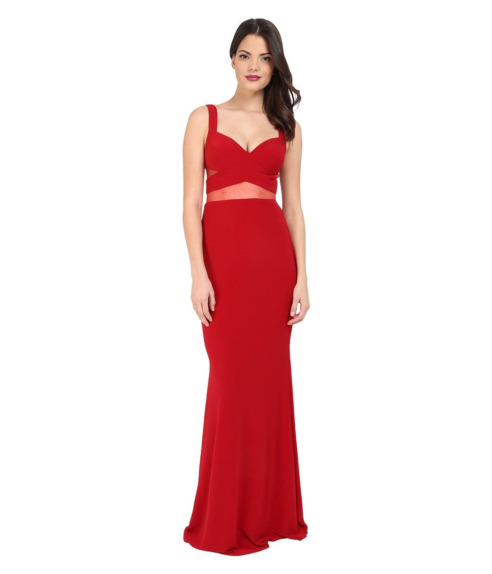 Faviana - Jersey Gown w/ Illusion Cut Outs 7744 (Ruby) Womens Dress