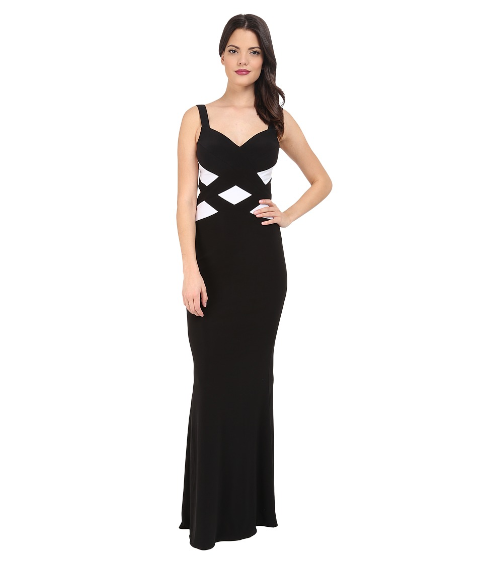 Faviana - Jersey Sweetheart Two-Tone Gown 7746 (Black/White) Womens Dress