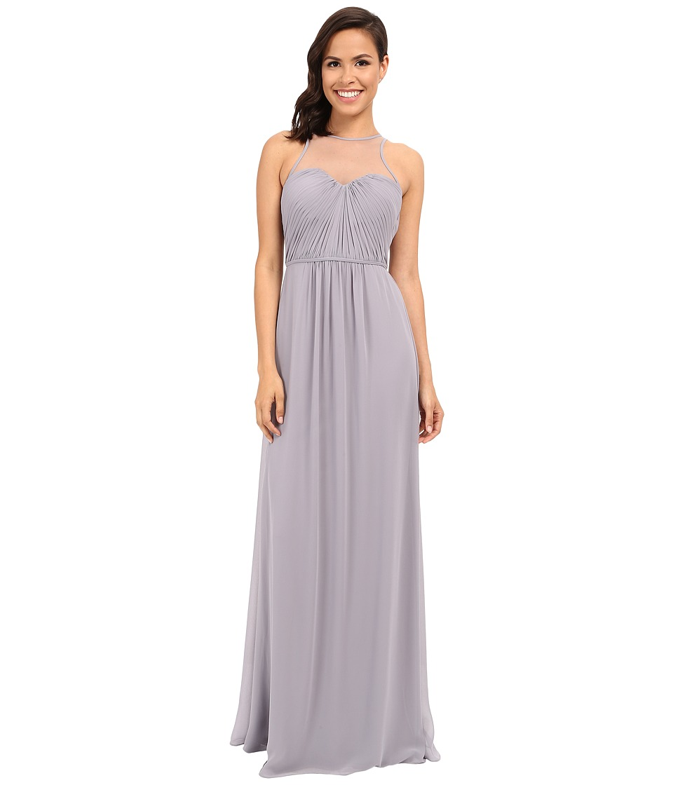 Faviana Chiffon Gown with Illusion Sweetheart Neckline/Rouched Bodice Keyhole Back 7774 Dove Grey Womens Dress