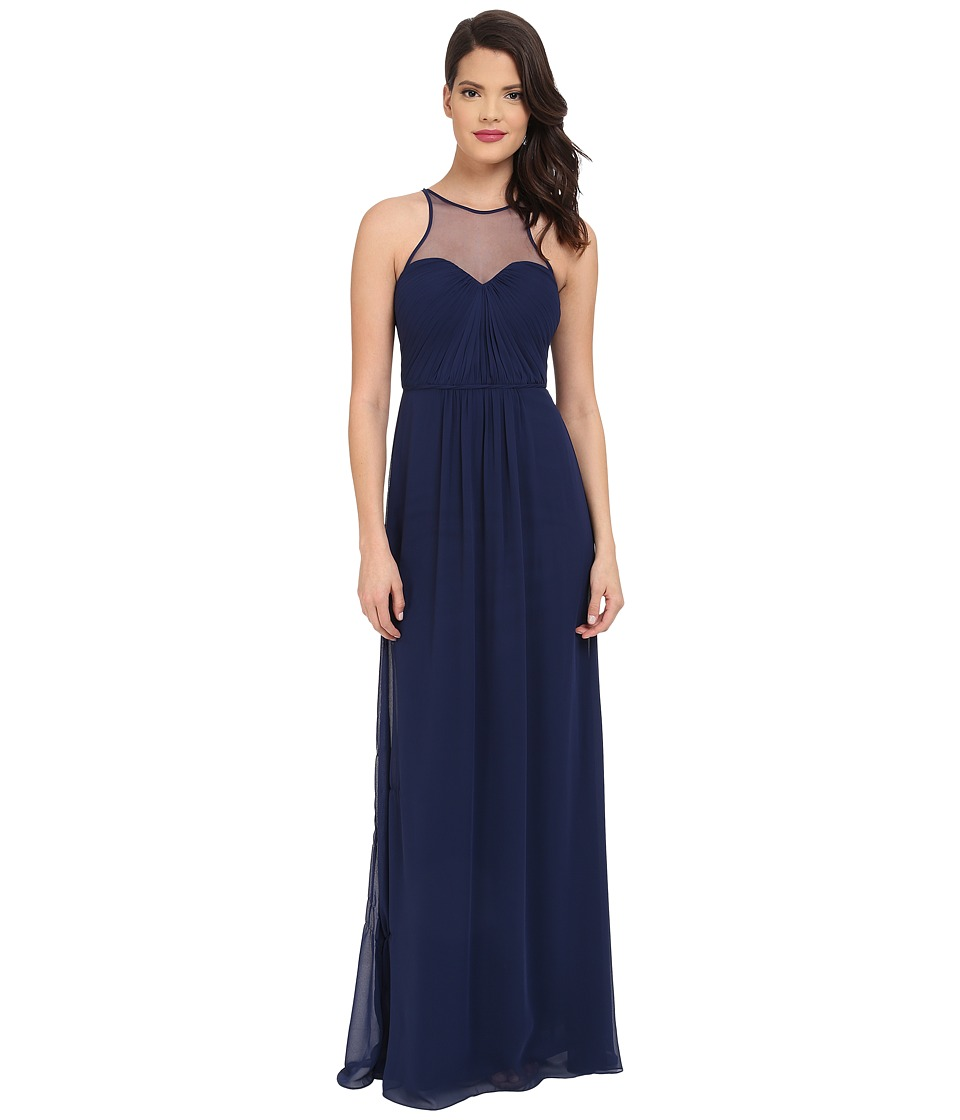 Faviana Chiffon Gown with Illusion Sweetheart Neckline/Rouched Bodice Keyhole Back 7774 Navy Womens Dress