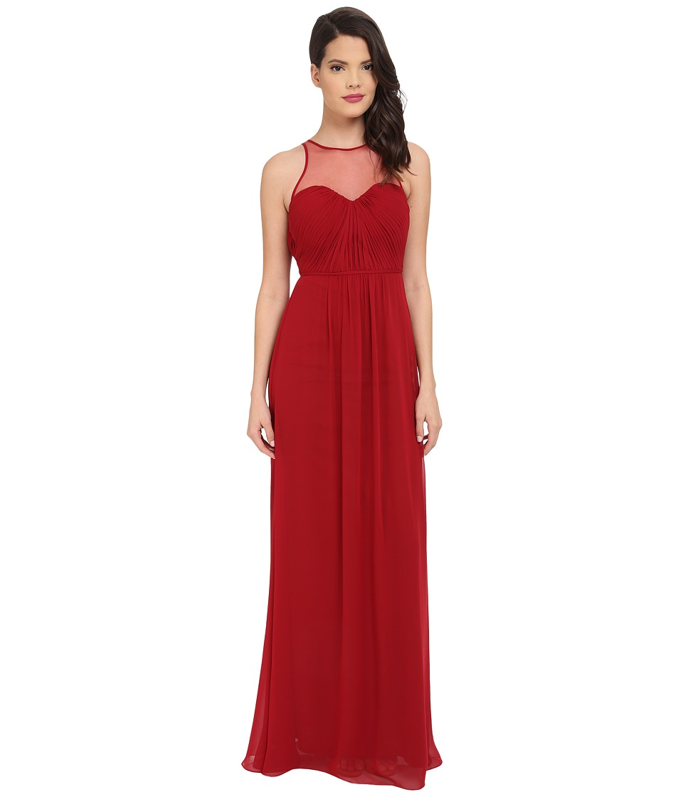 Faviana Chiffon Gown with Illusion Sweetheart Neckline/Rouched Bodice Keyhole Back 7774 Ruby Womens Dress