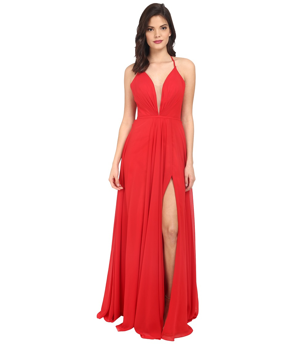 Faviana Chiffon V-Neck Gown w/ Full Skirt 7747 (Red) Wome...