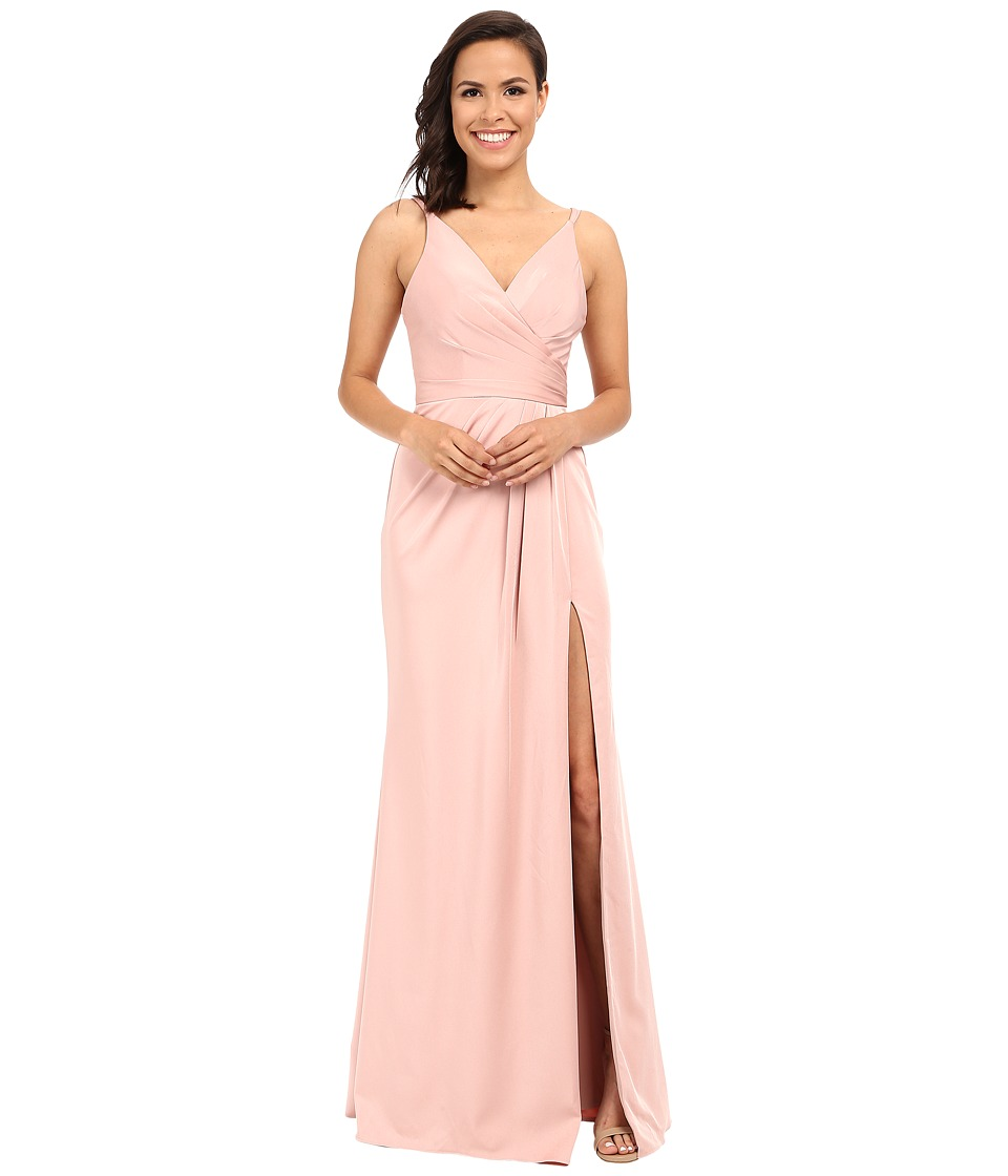Faviana - Faille Satin V-Neck Gown with Draped Skirt (Dusty Pink) Womens Dress