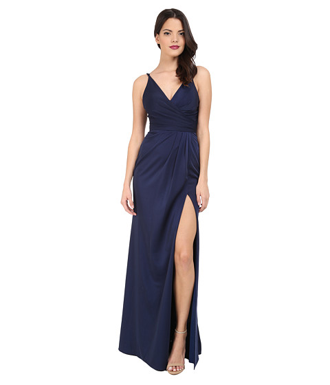 Faviana Faille Satin V-Neck Gown with Draped Skirt - Navy
