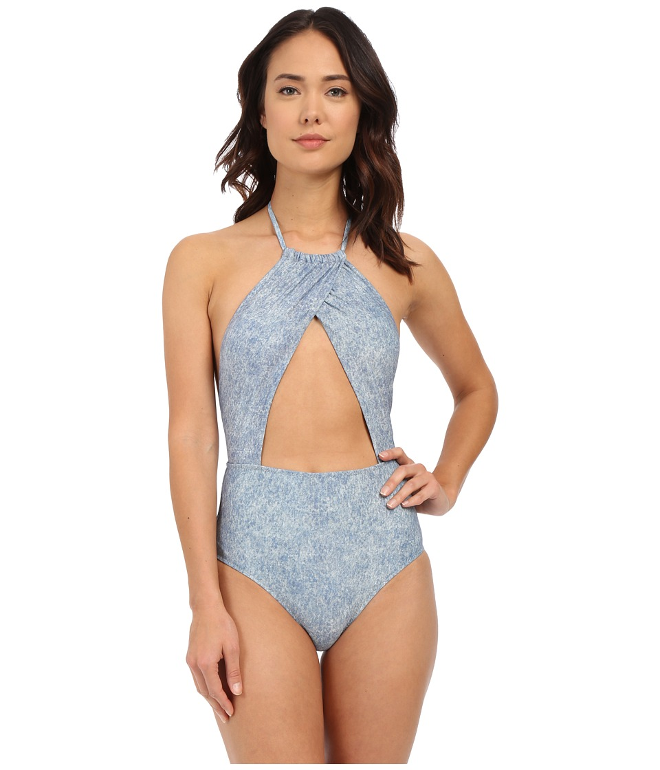Billabong Denim Daze Wrap Halter One Piece Denim Womens Swimsuits One Piece