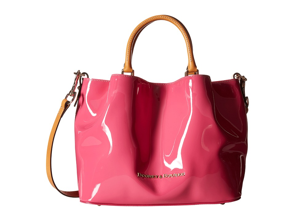Dooney & Bourke - City Patent Barlow (Fuchsia w/ Butterscotch Trim) Handbags
