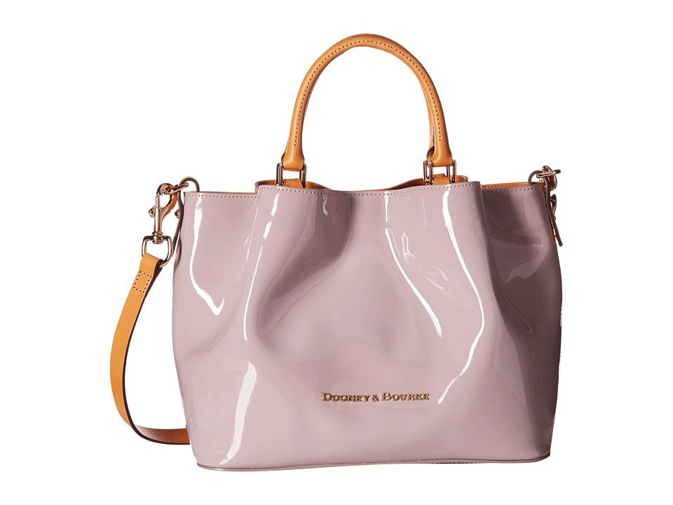 Dooney amp Bourke City Patent Barlow Oyster w/ Butterscotch Trim Handbags