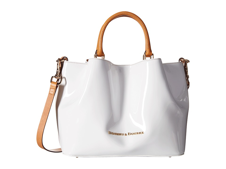 Dooney & Bourke - City Patent Barlow (White w/ Butterscotch Trim) Handbags
