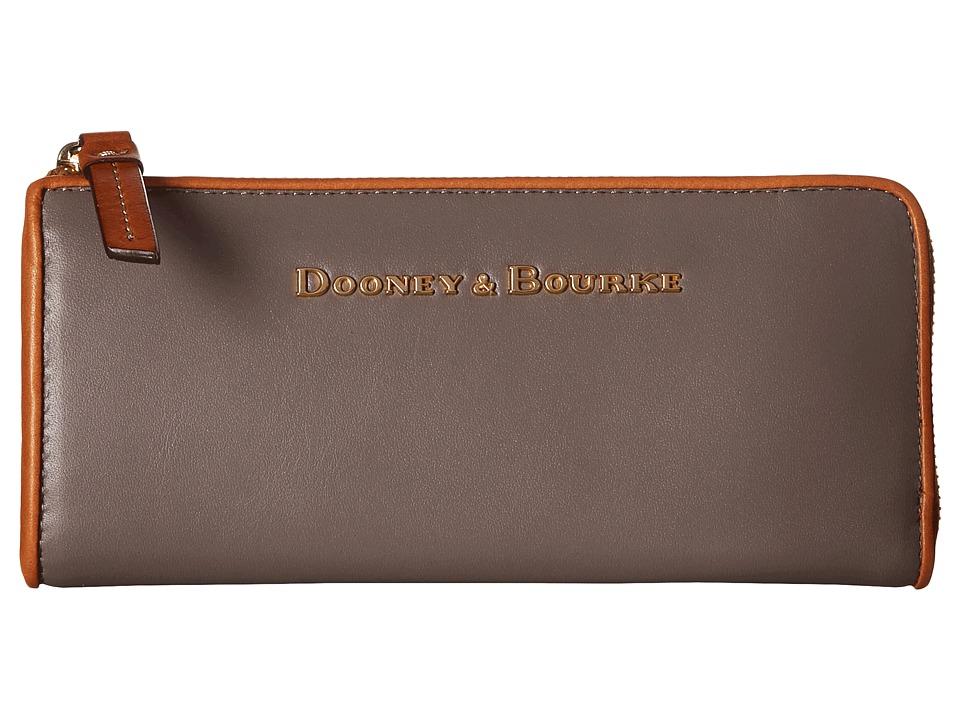 Dooney amp Bourke City Zip Clutch Taupe w/ Natural Trim Clutch Handbags