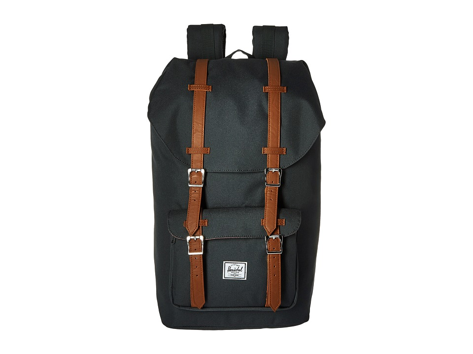 Herschel Supply Co. - Little America (Dark Shadow/Tan Synthetic Leather) Backpack Bags