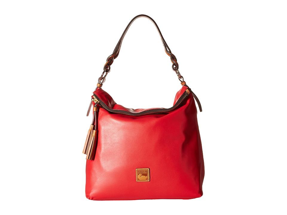 Dooney amp Bourke Newbury Leather Sloan Cherry w/ Natural Trim Handbags