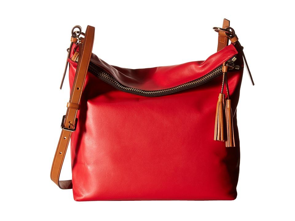 Dooney amp Bourke Newbury Leather Dixon Crossbody Cherry w/ Natural Trim Cross Body Handbags