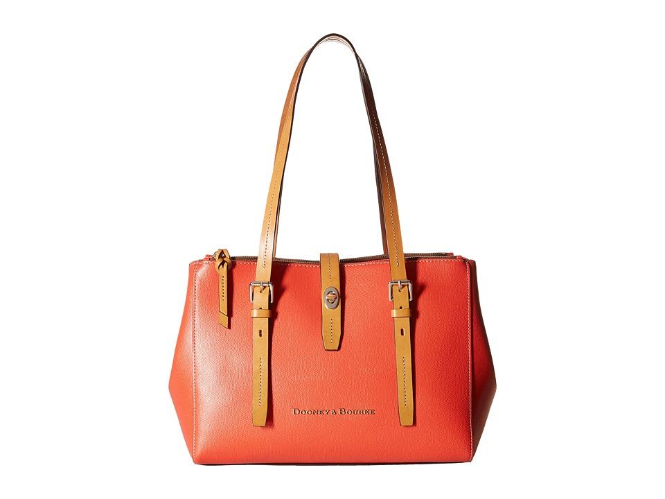 Dooney amp Bourke Claremont Miller Shopper Geranium w/ Butterscotch Trim Tote Handbags