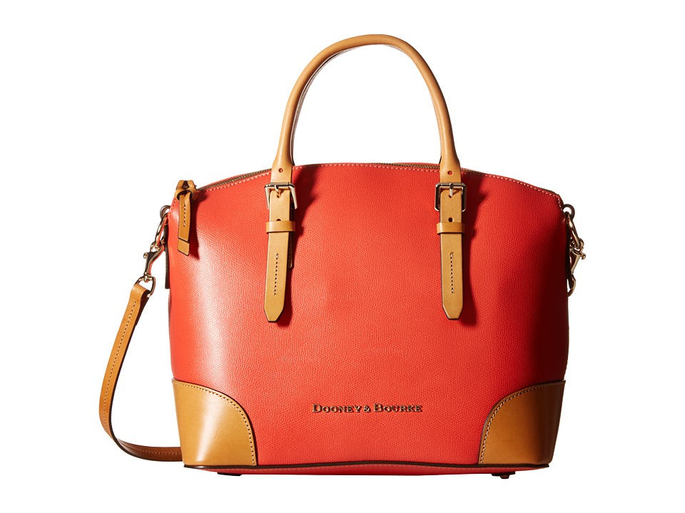 Dooney amp Bourke Claremont Domed Satchel Geranium w/ Butterscotch Trim Satchel Handbags