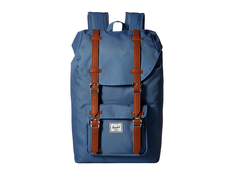 Herschel Supply Co. Little America Mid Volume Captains Blue/Tan Synthetic Leather Backpack Bags
