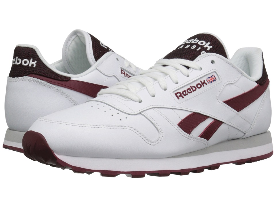 Reebok Lifestyle Classic Leather Pop SC White/Merlot Mens Classic Shoes