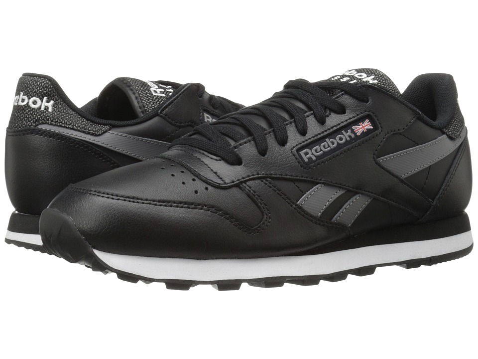 Reebok Lifestyle Classic Leather Pop SC Black/Shark/White Mens Classic Shoes