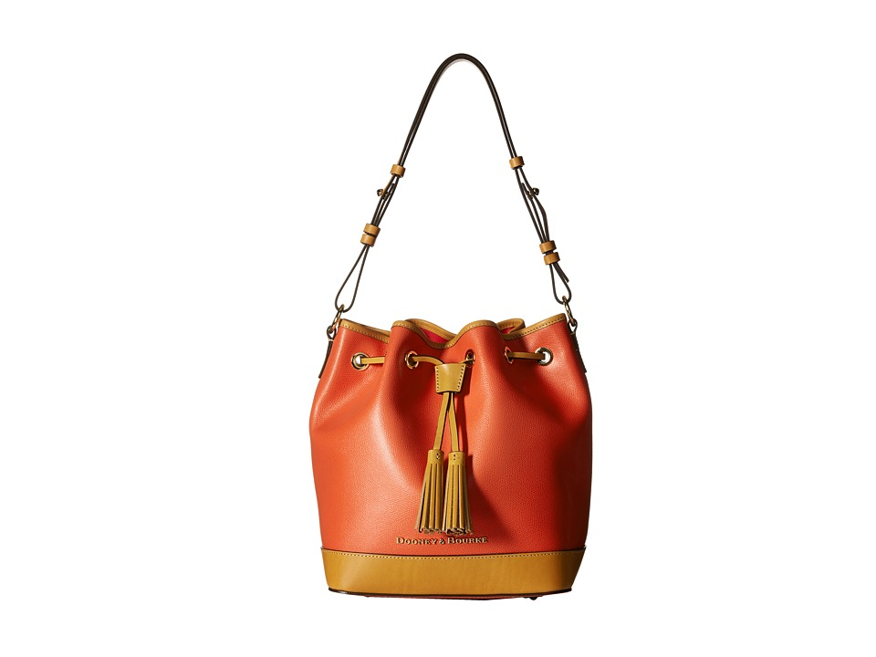 Dooney amp Bourke Claremont Drawstring Geranium w/ Butterscotch Trim Shoulder Handbags