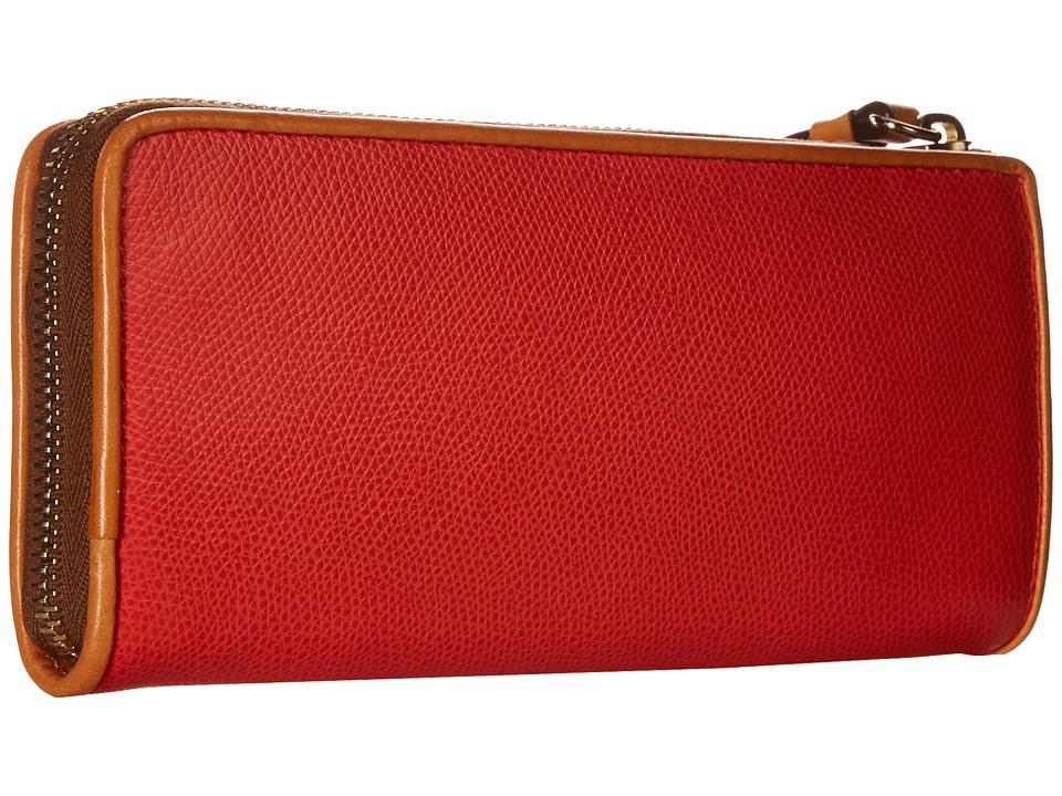 Dooney amp Bourke Claremont Zip Clutch Geranium w/ Butterscotch Trim Clutch Handbags