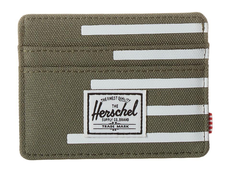 Herschel Supply Co. Charlie Deep Lichen Green/Blanc de Blanc Stripes Credit card Wallet