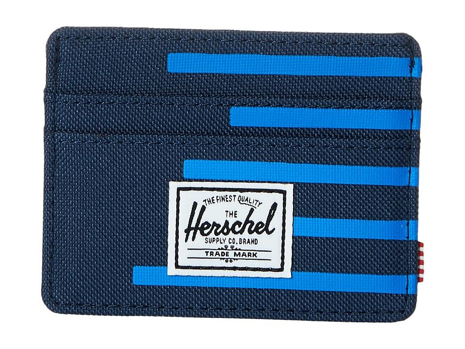 Herschel Supply Co. Charlie Navy/Cobalt Stripes Credit card Wallet