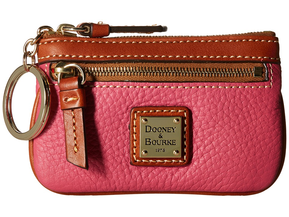Dooney amp Bourke Pebble Small Coin Case Hot Pink w/ Tan Trim Coin Purse