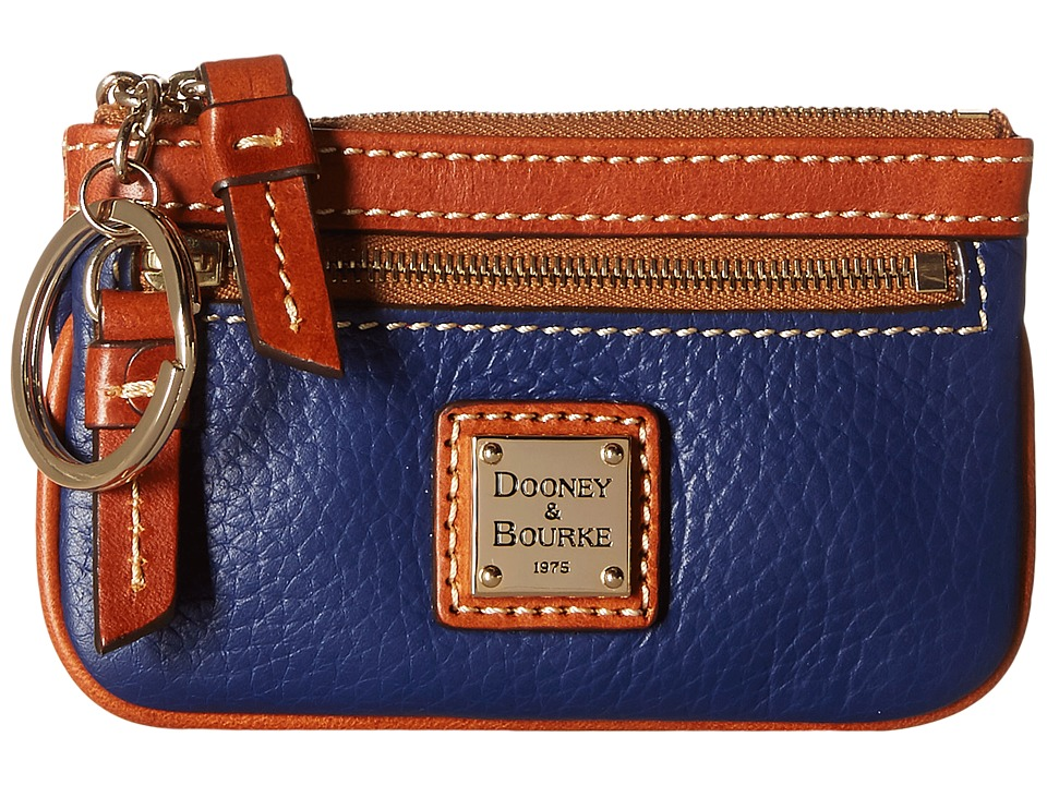 Dooney amp Bourke Pebble Small Coin Case Cobalt w/ Tan Trim Coin Purse
