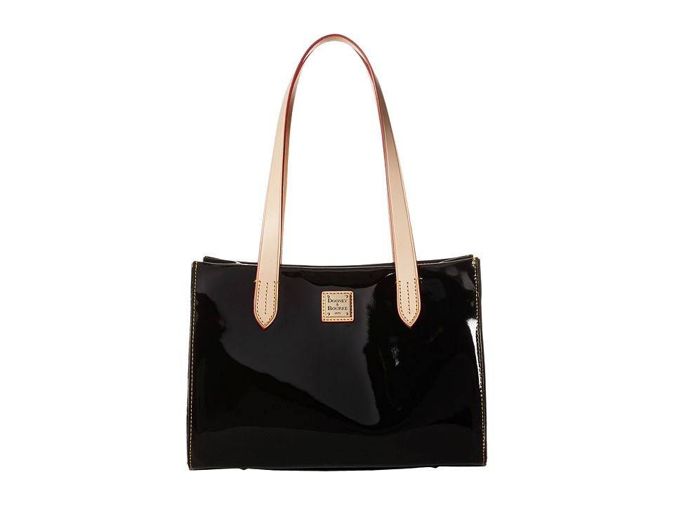 Dooney amp Bourke Pebble Patent Small Shopper Black w/ Natural Trim Handbags